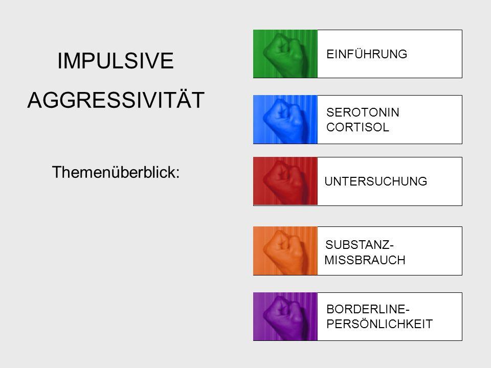 Materialien und Methoden Tests Wechsler Adult Intelligence Scale-Revised Buss-Durkee-Hostility Index (BDHI) Barrett Impulsivity Scale (BIS) UNTERSUCHUNG Measure Group IEDControl Estimated IQ, standard score94.4 (10.6)99.6 (9.7) BDHI aggression subscale28.0 (0.0)**13.3 (3.4) BIS60.0 (16.3)*51.0 (9.5)