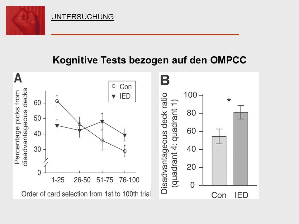 Kognitive Tests bezogen auf den OMPCC UNTERSUCHUNG