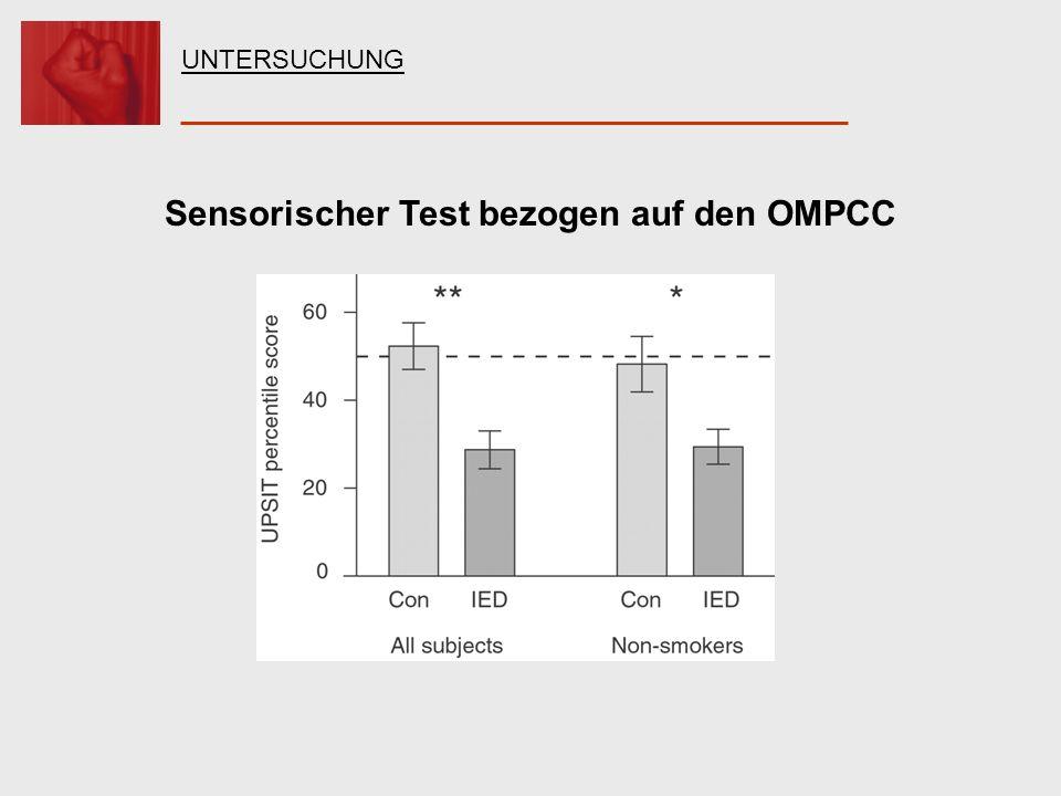 Sensorischer Test bezogen auf den OMPCC UNTERSUCHUNG
