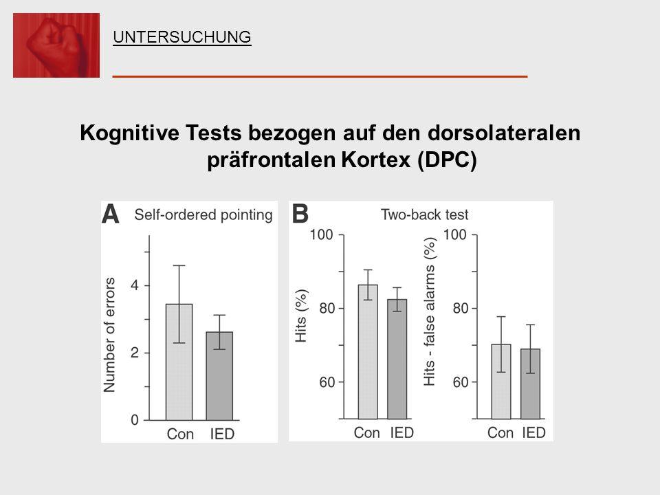 Kognitive Tests bezogen auf den dorsolateralen präfrontalen Kortex (DPC) UNTERSUCHUNG