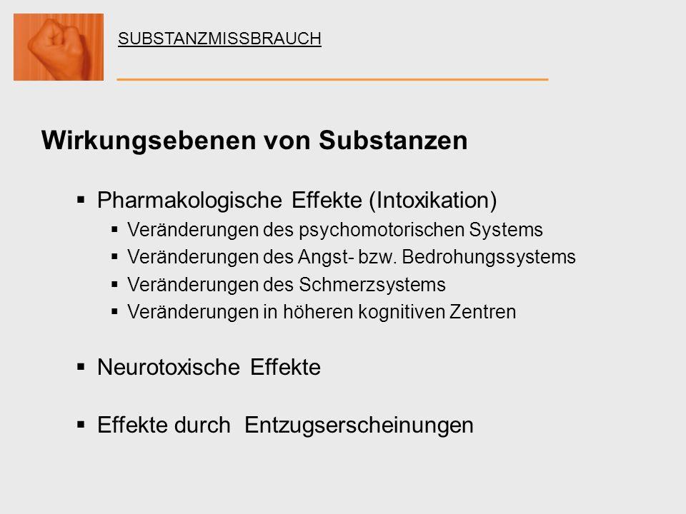 SUBSTANZMISSBRAUCH Wirkungsebenen von Substanzen Pharmakologische Effekte (Intoxikation) Veränderungen des psychomotorischen Systems Veränderungen des