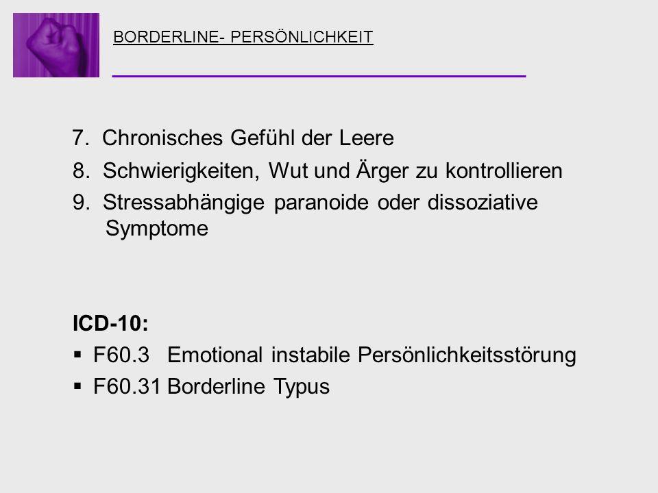 BORDERLINE- PERSÖNLICHKEIT 7. Chronisches Gefühl der Leere 8. Schwierigkeiten, Wut und Ärger zu kontrollieren 9. Stressabhängige paranoide oder dissoz