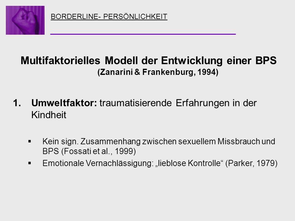 BORDERLINE- PERSÖNLICHKEIT Multifaktorielles Modell der Entwicklung einer BPS (Zanarini & Frankenburg, 1994) 1.Umweltfaktor: traumatisierende Erfahrun