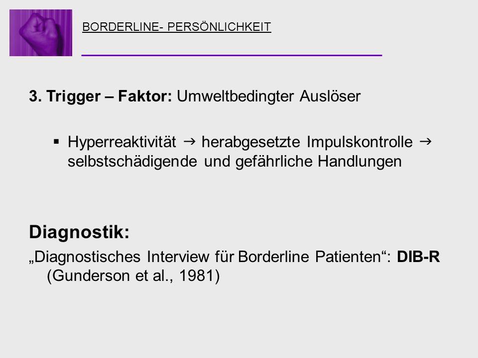 BORDERLINE- PERSÖNLICHKEIT 3. Trigger – Faktor: Umweltbedingter Auslöser Hyperreaktivität herabgesetzte Impulskontrolle selbstschädigende und gefährli