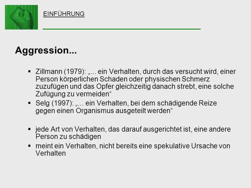 EINFÜHRUNG Aggression... Zillmann (1979):... ein Verhalten, durch das versucht wird, einer Person körperlichen Schaden oder physischen Schmerz zuzufüg