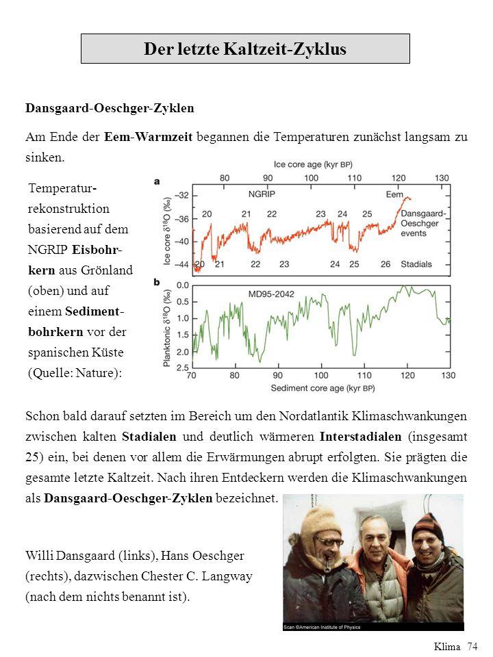 Dansgaard-Oeschger-Zyklen Am Ende der Eem-Warmzeit begannen die Temperaturen zunächst langsam zu sinken.