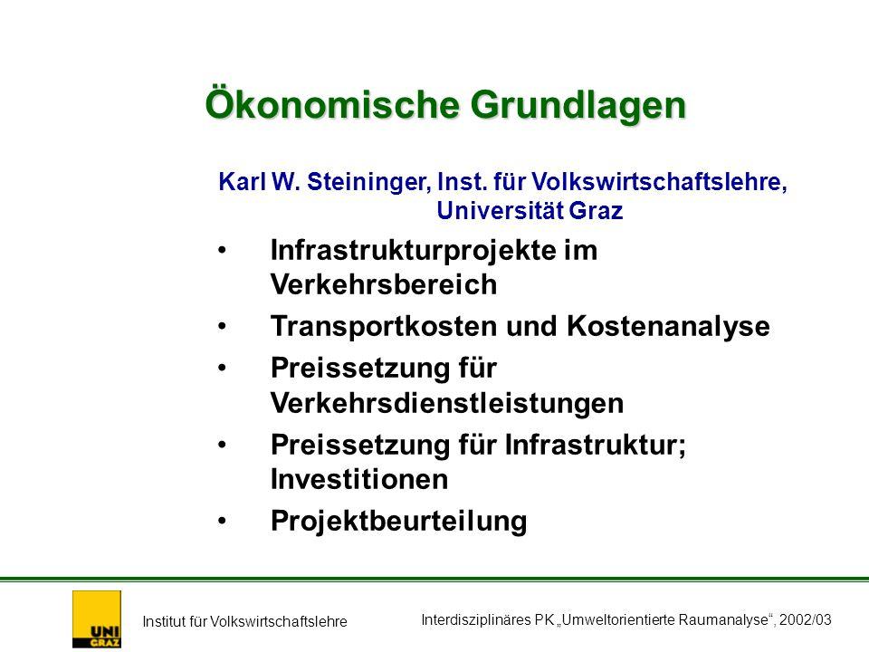 Institut für Volkswirtschaftslehre Interdisziplinäres PK Umweltorientierte Raumanalyse, 2002/03 Ökonomische Grundlagen Karl W.