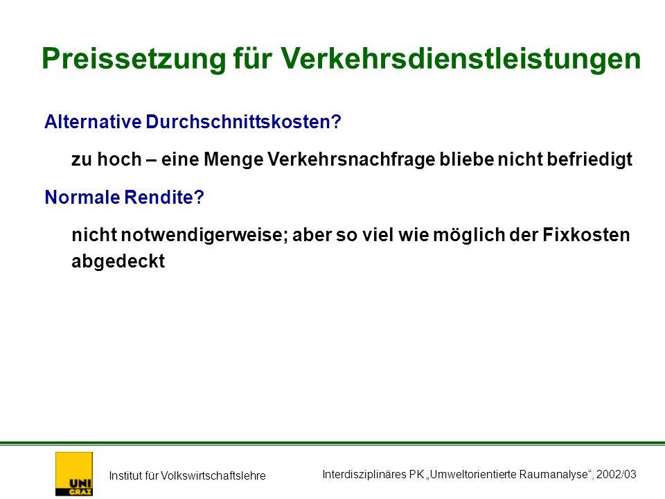 Institut für Volkswirtschaftslehre Interdisziplinäres PK Umweltorientierte Raumanalyse, 2002/03 Alternative Durchschnittskosten.