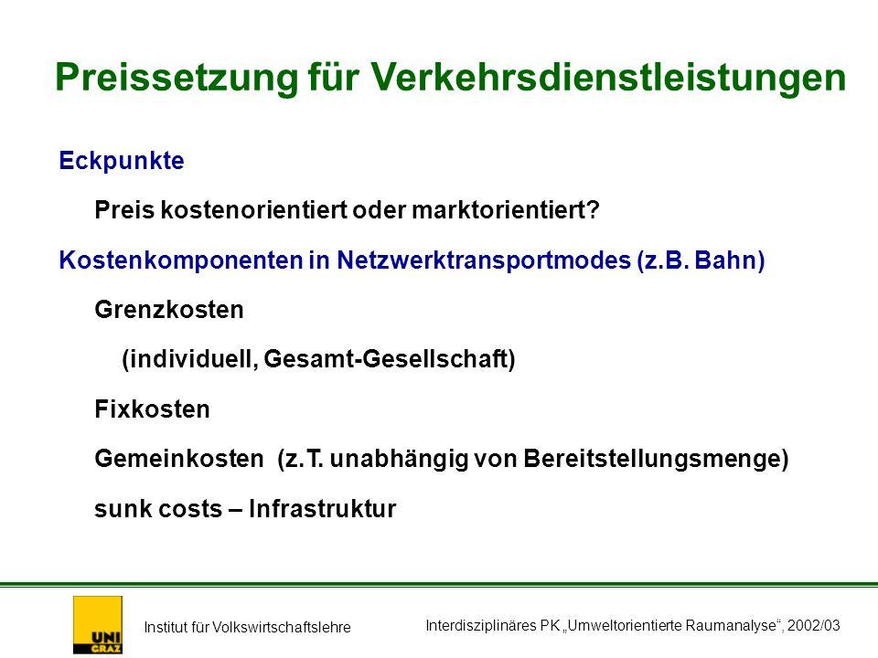 Institut für Volkswirtschaftslehre Interdisziplinäres PK Umweltorientierte Raumanalyse, 2002/03 Eckpunkte Preis kostenorientiert oder marktorientiert.
