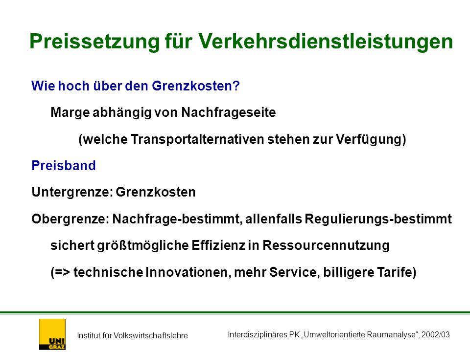 Institut für Volkswirtschaftslehre Interdisziplinäres PK Umweltorientierte Raumanalyse, 2002/03 Wie hoch über den Grenzkosten.