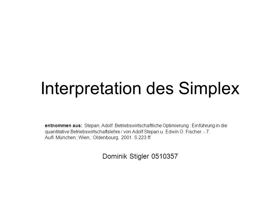 Interpretation des Simplex entnommen aus: Stepan, Adolf: Betriebswirtschaftliche Optimierung : Einführung in die quantitative Betriebswirtschaftslehre / von Adolf Stepan u.