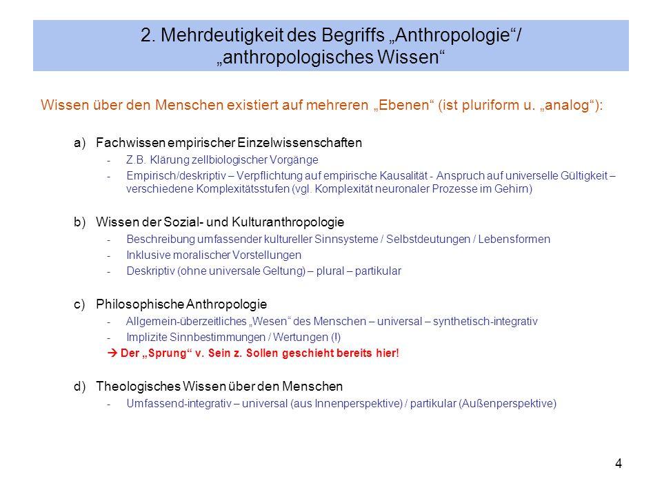 4 2. Mehrdeutigkeit des Begriffs Anthropologie/ anthropologisches Wissen Wissen über den Menschen existiert auf mehreren Ebenen (ist pluriform u. anal