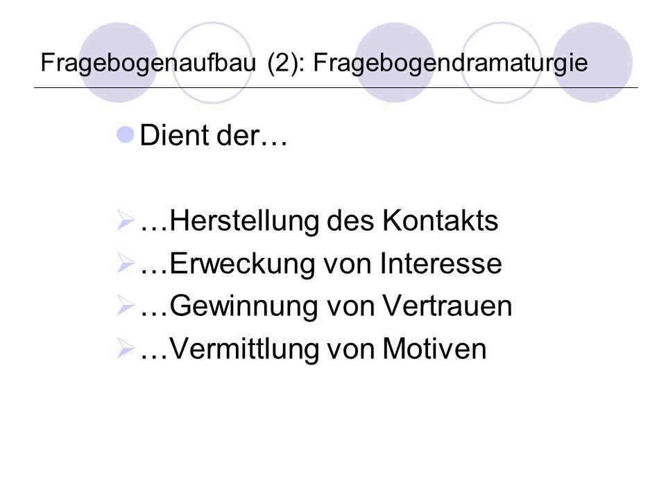 Fragebogenaufbau (2): Fragebogendramaturgie Dient der… …Herstellung des Kontakts …Erweckung von Interesse …Gewinnung von Vertrauen …Vermittlung von Motiven