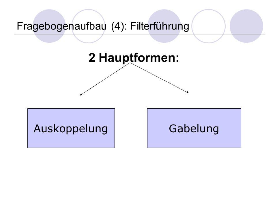 Fragebogenaufbau (4): Filterführung 2 Hauptformen: AuskoppelungGabelung