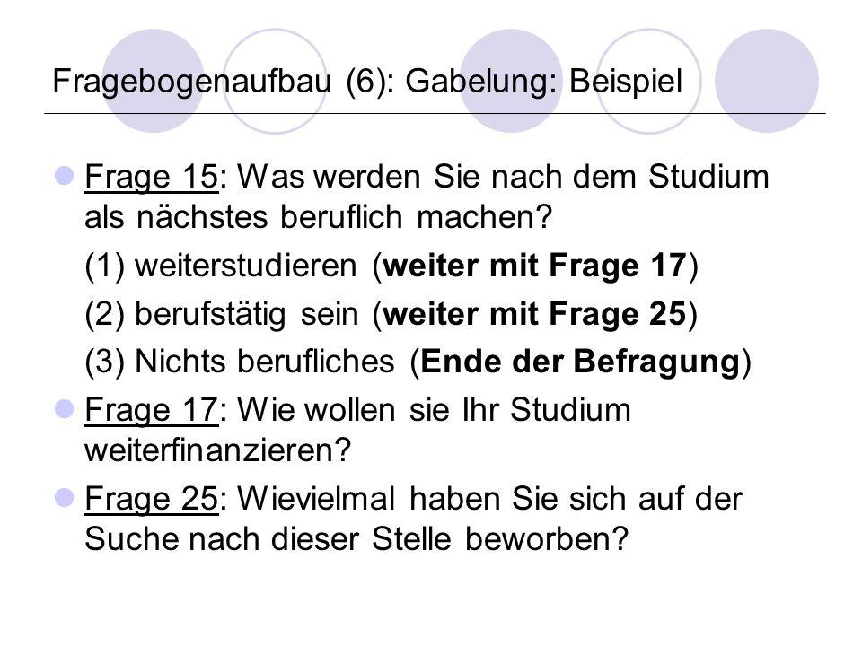 Fragebogenaufbau (6): Gabelung: Beispiel Frage 15: Was werden Sie nach dem Studium als nächstes beruflich machen.