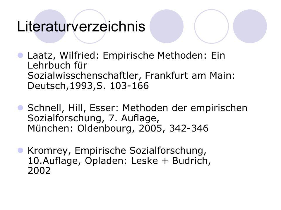 Literaturverzeichnis Laatz, Wilfried: Empirische Methoden: Ein Lehrbuch für Sozialwisschenschaftler, Frankfurt am Main: Deutsch,1993,S.