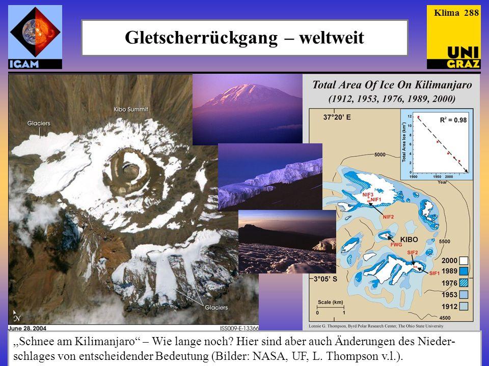 Gletscherrückgang – weltweit Schnee am Kilimanjaro – Wie lange noch? Hier sind aber auch Änderungen des Nieder- schlages von entscheidender Bedeutung