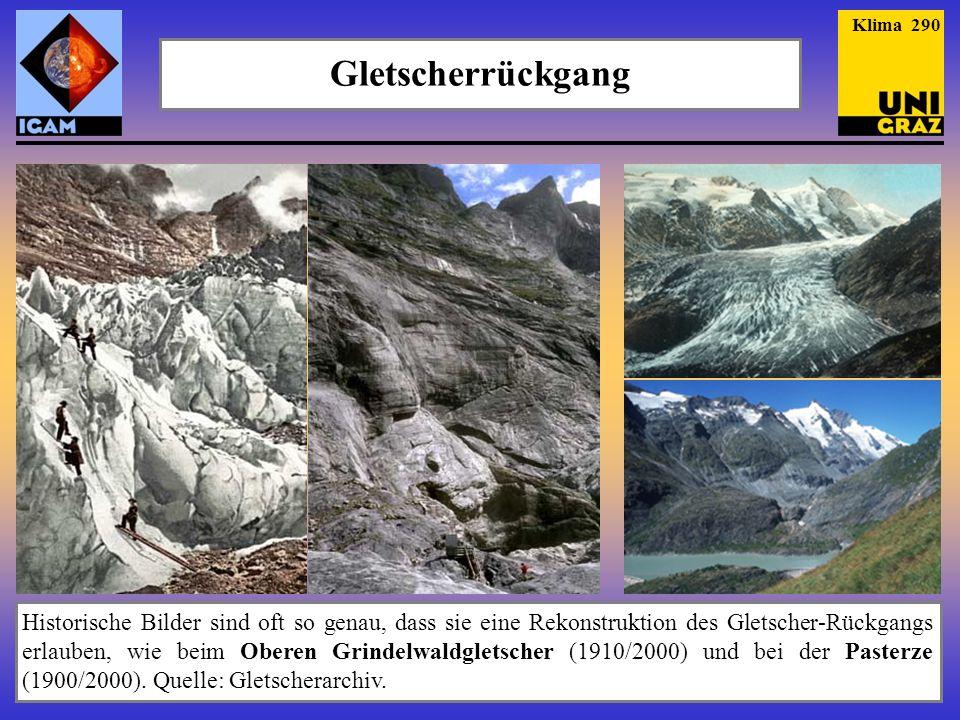 Historische Bilder sind oft so genau, dass sie eine Rekonstruktion des Gletscher-Rückgangs erlauben, wie beim Oberen Grindelwaldgletscher (1910/2000)