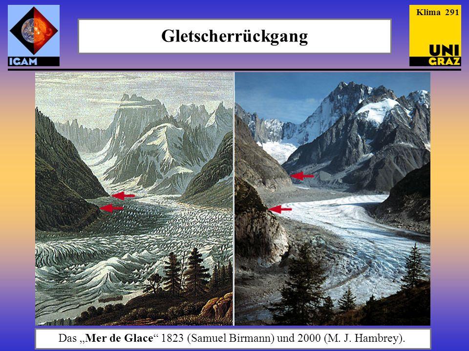 Das Mer de Glace 1823 (Samuel Birmann) und 2000 (M. J. Hambrey). Gletscherrückgang Klima 291