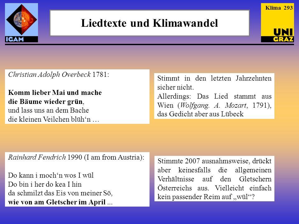 Liedtexte und Klimawandel Christian Adolph Overbeck 1781: Komm lieber Mai und mache die Bäume wieder grün, und lass uns an dem Bache die kleinen Veilc