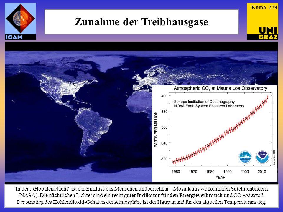 Zunahme der Treibhausgase In der Globalen Nacht ist der Einfluss des Menschen unübersehbar – Mosaik aus wolkenfreien Satellitenbildern (NASA). Die näc