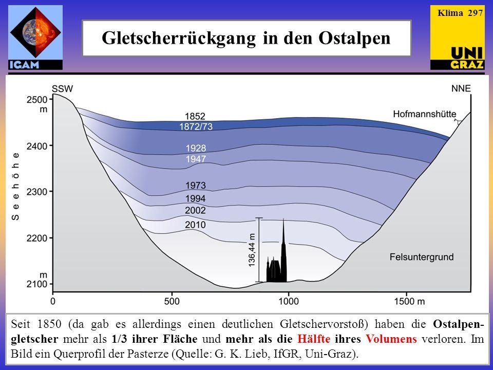 Gletscherrückgang in den Ostalpen Seit 1850 (da gab es allerdings einen deutlichen Gletschervorstoß) haben die Ostalpen- gletscher mehr als 1/3 ihrer