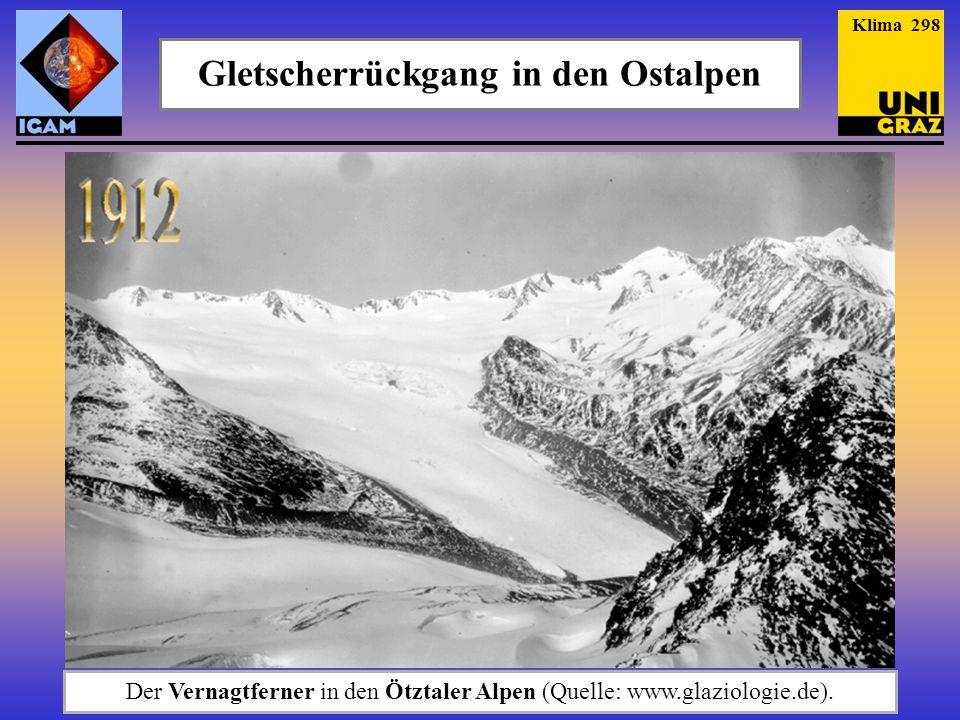 Gletscherrückgang in den Ostalpen Der Vernagtferner in den Ötztaler Alpen (Quelle: www.glaziologie.de). Klima 298