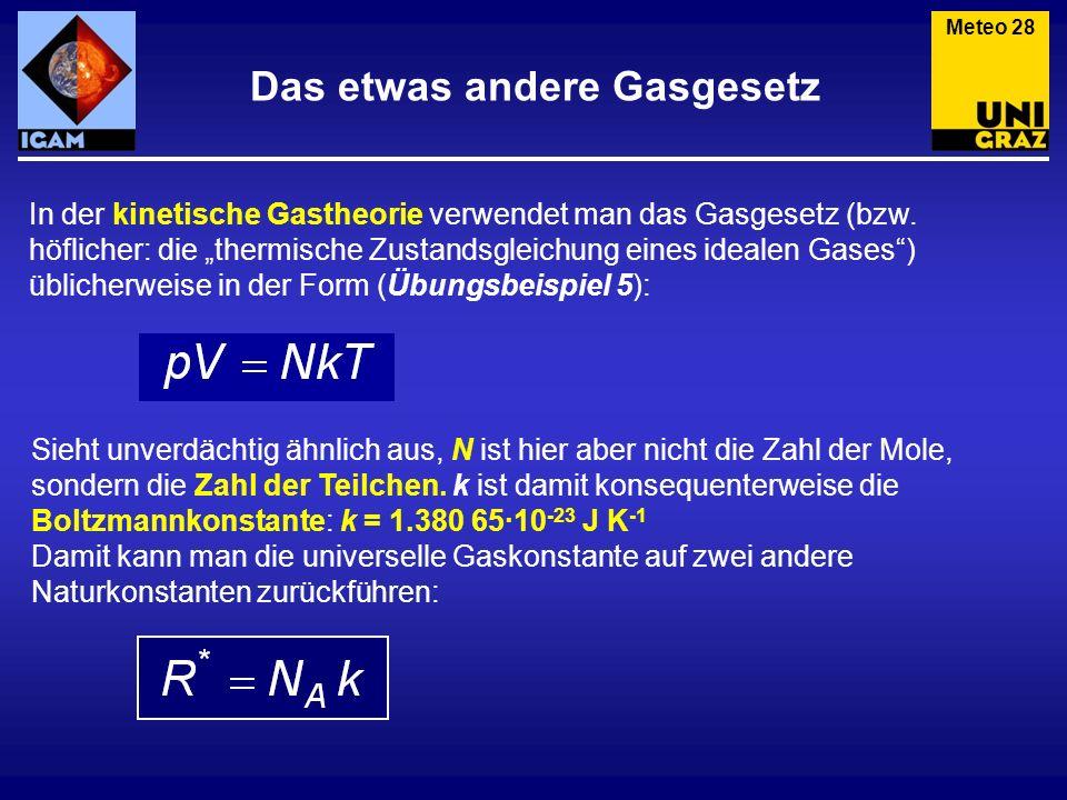 Das etwas andere Gasgesetz In der kinetische Gastheorie verwendet man das Gasgesetz (bzw. höflicher: die thermische Zustandsgleichung eines idealen Ga