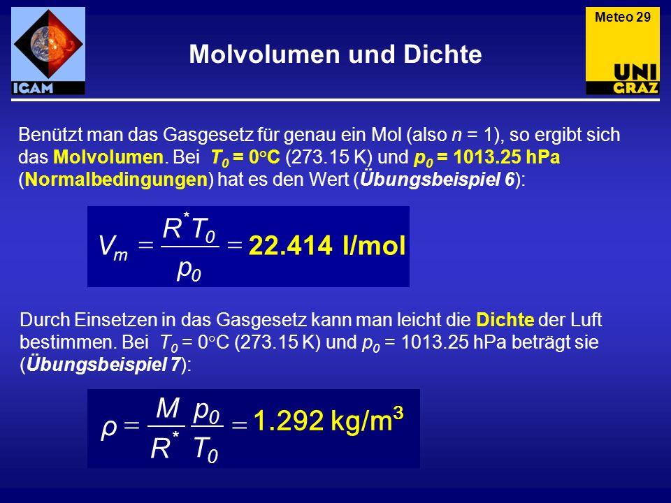 Benützt man das Gasgesetz für genau ein Mol (also n = 1), so ergibt sich das Molvolumen. Bei T 0 = 0°C (273.15 K) und p 0 = 1013.25 hPa (Normalbedingu