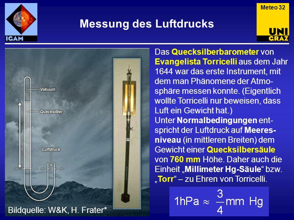 Messung des Luftdrucks Das Quecksilberbarometer von Evangelista Torricelli aus dem Jahr 1644 war das erste Instrument, mit dem man Phänomene der Atmo-