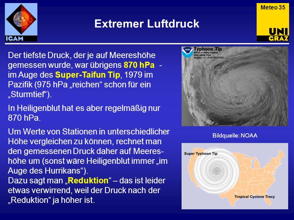 Extremer Luftdruck Der tiefste Druck, der je auf Meereshöhe gemessen wurde, war übrigens 870 hPa - im Auge des Super-Taifun Tip, 1979 im Pazifik (975