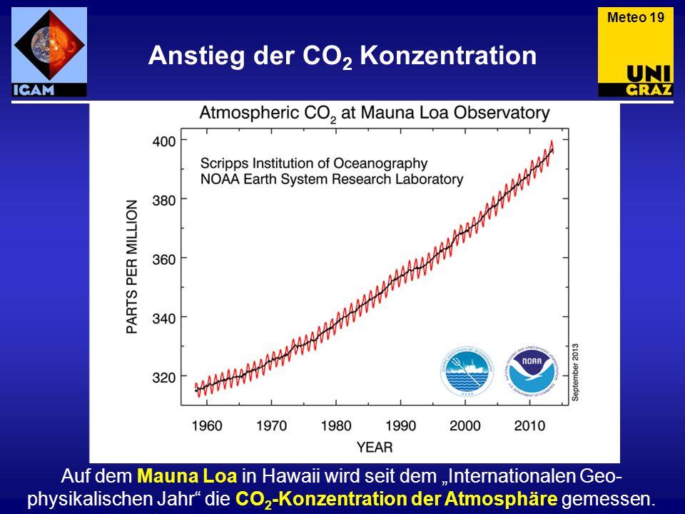 Anstieg der CO 2 Konzentration Meteo 19 Auf dem Mauna Loa in Hawaii wird seit dem Internationalen Geo- physikalischen Jahr die CO 2 -Konzentration der