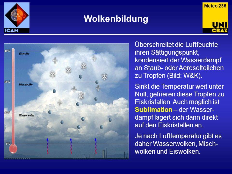 Meteo 236 Überschreitet die Luftfeuchte ihren Sättigungspunkt, kondensiert der Wasserdampf an Staub- oder Aerosolteilchen zu Tropfen (Bild: W&K). Sink