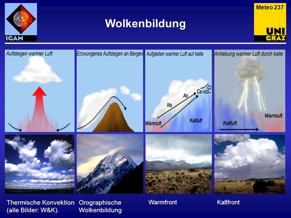 Meteo 237 Thermische Konvektion (alle Bilder: W&K). Wolkenbildung Orographische Wolkenbildung WarmfrontKaltfront
