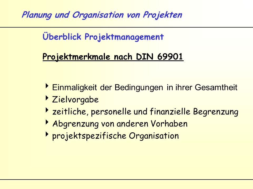 Planung und Organisation von Projekten Überblick Projektmanagement Projektmerkmale nach DIN 69901 Einmaligkeit der Bedingungen in ihrer Gesamtheit Zielvorgabe zeitliche, personelle und finanzielle Begrenzung Abgrenzung von anderen Vorhaben projektspezifische Organisation