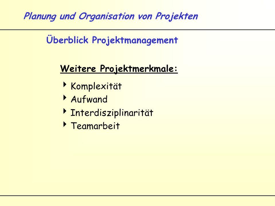 Planung und Organisation von Projekten Überblick Projektmanagement Zunehmende Bedeutung von Projekten in der Wirtschaftspraxis durch...