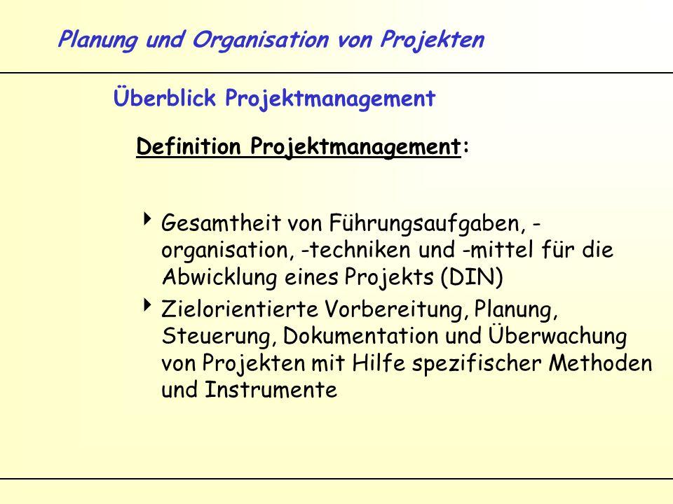 Planung und Organisation von Projekten Überblick Projektmanagement Definition Projektmanagement: Gesamtheit von Führungsaufgaben, - organisation, -techniken und -mittel für die Abwicklung eines Projekts (DIN) Zielorientierte Vorbereitung, Planung, Steuerung, Dokumentation und Überwachung von Projekten mit Hilfe spezifischer Methoden und Instrumente