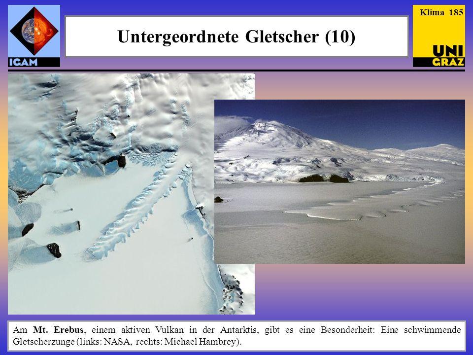 Am Mt. Erebus, einem aktiven Vulkan in der Antarktis, gibt es eine Besonderheit: Eine schwimmende Gletscherzunge (links: NASA, rechts: Michael Hambrey