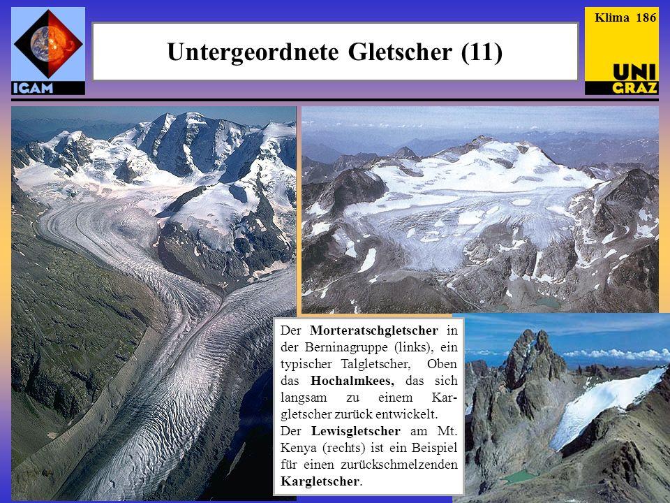 Der Morteratschgletscher in der Berninagruppe (links), ein typischer Talgletscher, Oben das Hochalmkees, das sich langsam zu einem Kar- gletscher zurü
