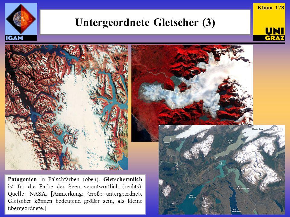 Patagonien in Falschfarben (oben). Gletschermilch ist für die Farbe der Seen verantwortlich (rechts). Quelle: NASA. [Anmerkung: Große untergeordnete G