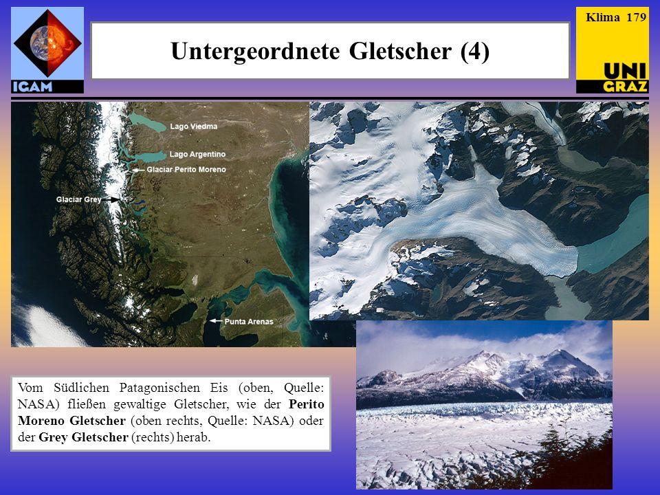 Vom Südlichen Patagonischen Eis (oben, Quelle: NASA) fließen gewaltige Gletscher, wie der Perito Moreno Gletscher (oben rechts, Quelle: NASA) oder der Grey Gletscher (rechts) herab.