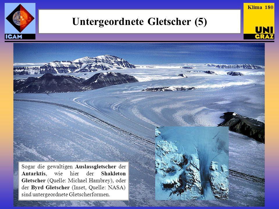 Klima 180 Untergeordnete Gletscher (5) Sogar die gewaltigen Auslassgletscher der Antarktis, wie hier der Shakleton Gletscher (Quelle: Michael Hambrey), oder der Byrd Gletscher (Inset, Quelle: NASA) sind untergeordnete Gletscherformen.
