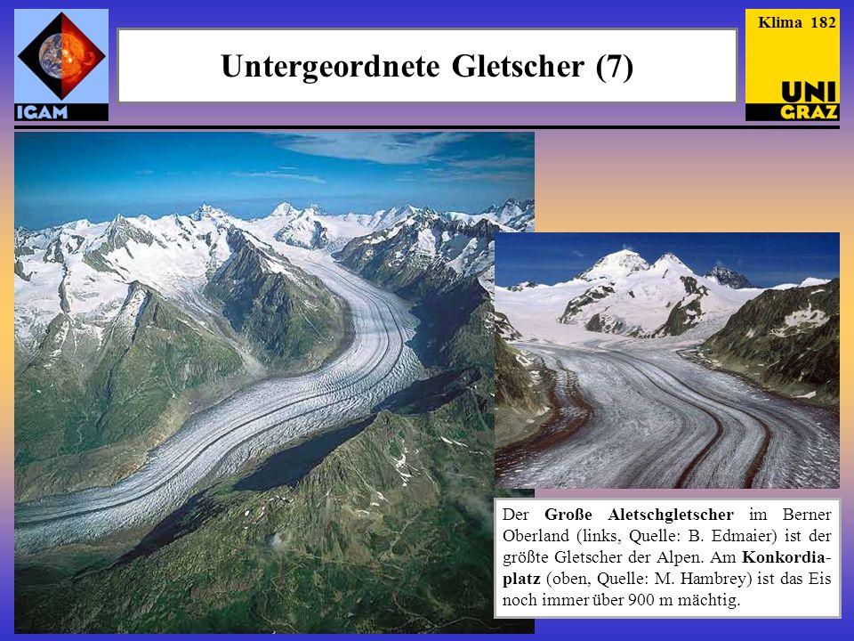 Klima 182 Untergeordnete Gletscher (7) Der Große Aletschgletscher im Berner Oberland (links, Quelle: B.