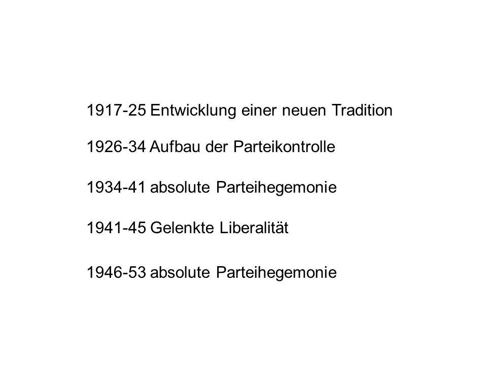 1917-25 Entwicklung einer neuen Tradition 1926-34 Aufbau der Parteikontrolle 1934-41 absolute Parteihegemonie 1941-45 Gelenkte Liberalität 1946-53 absolute Parteihegemonie