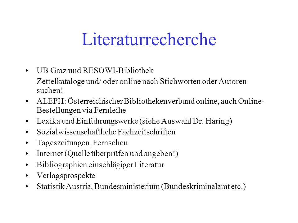 Literaturrecherche UB Graz und RESOWI-Bibliothek Zettelkataloge und/ oder online nach Stichworten oder Autoren suchen! ALEPH: Österreichischer Bibliot