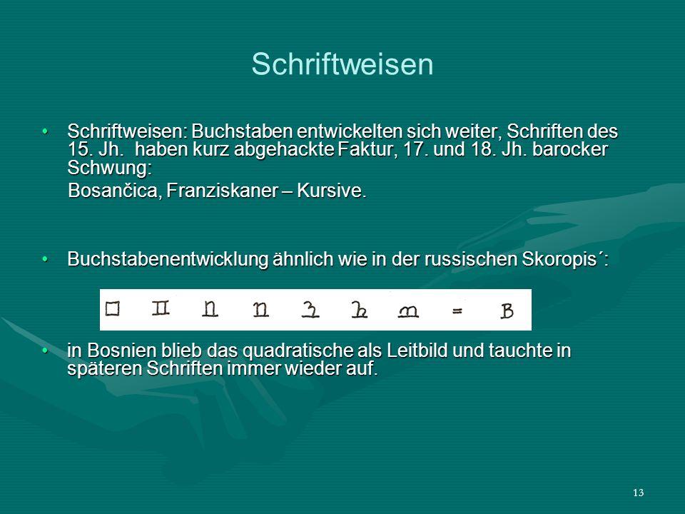 13 Schriftweisen Schriftweisen: Buchstaben entwickelten sich weiter, Schriften des 15. Jh. haben kurz abgehackte Faktur, 17. und 18. Jh. barocker Schw