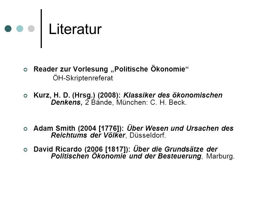 Literatur Reader zur Vorlesung Politische Ökonomie ÖH-Skriptenreferat Kurz, H.