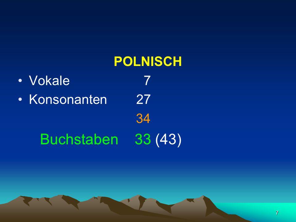 7 POLNISCH Vokale 7 Konsonanten 27 34 Buchstaben 33 (43)