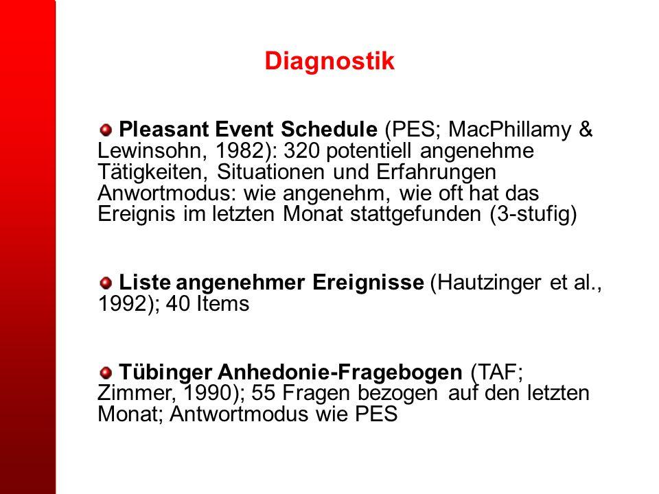 Diagnostik Pleasant Event Schedule (PES; MacPhillamy & Lewinsohn, 1982): 320 potentiell angenehme Tätigkeiten, Situationen und Erfahrungen Anwortmodus