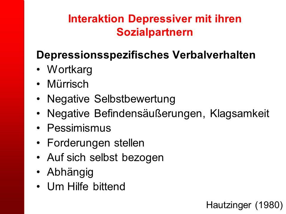 Interaktion Depressiver mit ihren Sozialpartnern Depressionsspezifisches Verbalverhalten Wortkarg Mürrisch Negative Selbstbewertung Negative Befindens